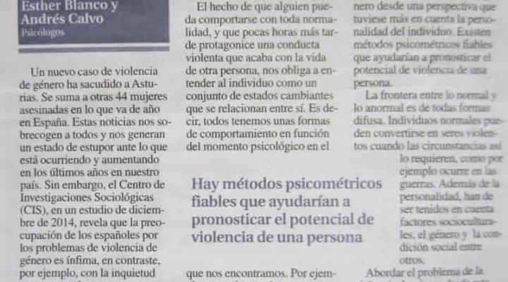 Artículo de opinión en La Nueva España. Tan normales, tan violentos.
