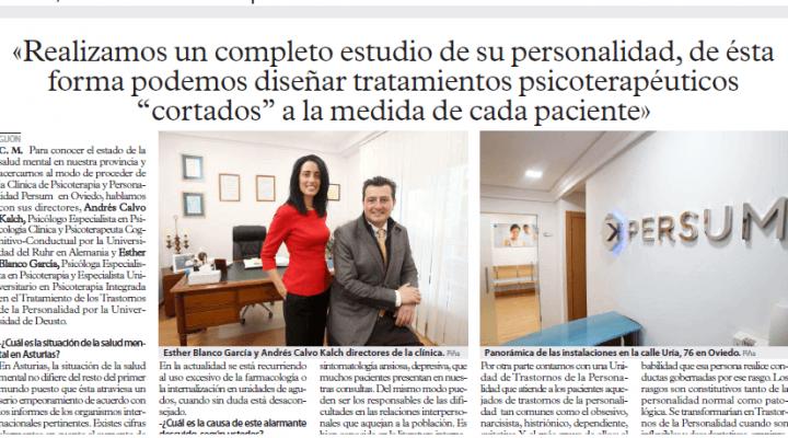 Los Periódicos El Comercio y La Voz de Avilés entrevistan a la Clínica Persum: «Disponemos de la primera Unidad de Trastornos de la Personalidad en Asturias»