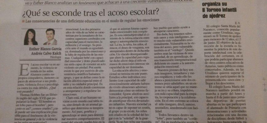 Artículo de opinión en La Nueva España. Esther Blanco y Andrés Calvo, directores de la Clínica Persum: ¿Qué se esconde tras el acoso escolar?