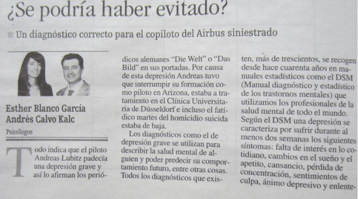 El periódico La Nueva España entrevista a Andrés Calvo y Esther Blanco sobre el perfil psicológico de Andreas Lubitz, autor del trágico accidente de los Alpes