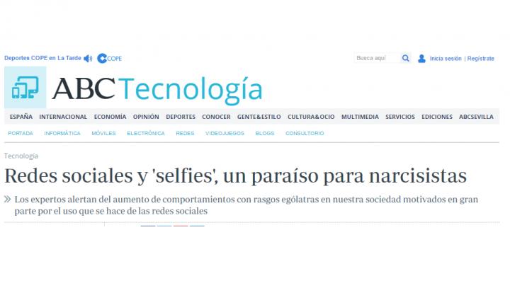 El periódico ABC entrevista a Andrés Calvo Kalch: «Redes sociales y selfies, un paraíso para narcisistas»