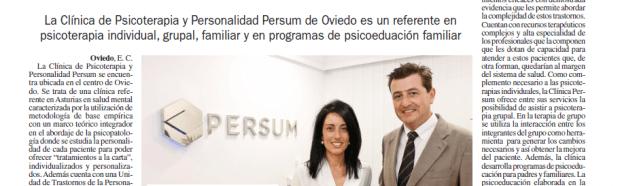 Entrevista en La Nueva España. La Clínica Persum, centro pionero en disponer de una Unidad de Trastornos de la Personalidad.