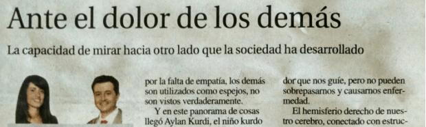 Artículo de opinión en La Nueva España. «Ante el dolor de los demás»