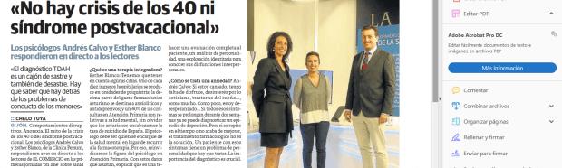 Entrevista a Andrés Calvo y Esther Blanco en El Comercio