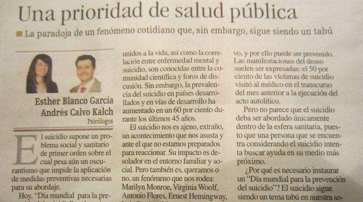 El suicidio. Una prioridad de salud pública. Artículo de opinión en La Nueva España.
