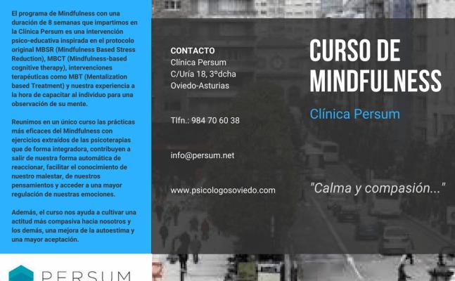 Curso de Mindfulness en Oviedo. Comienzo el 25 y el 28 de Septiembre 2018