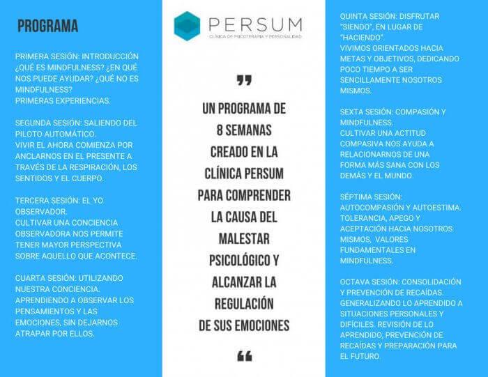 Programa del Curso de Mindfulness en Oviedo impartido por la Clínica Persum
