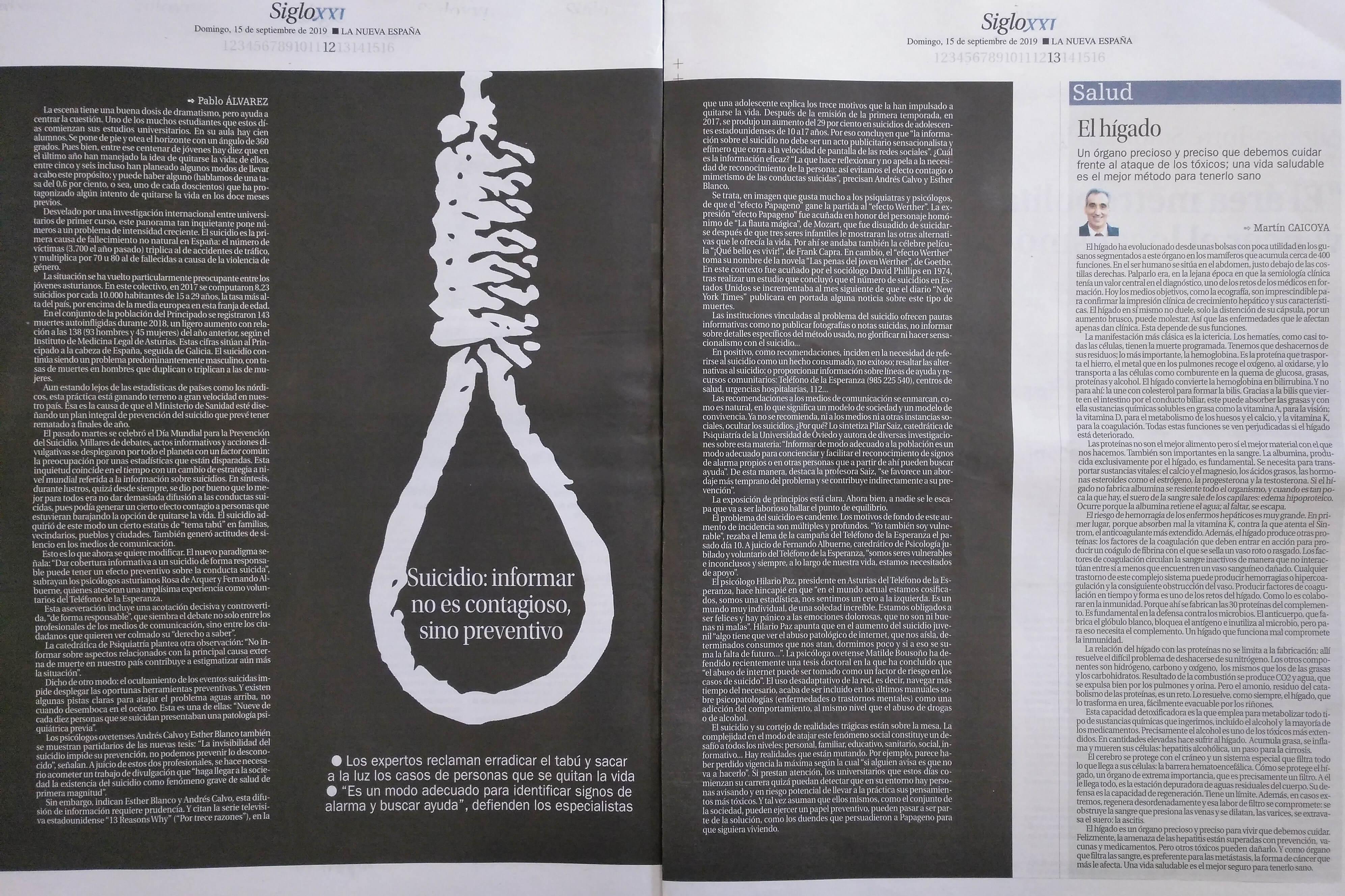 Suicidio: informar es preventivo