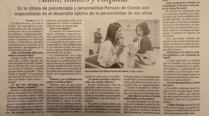 «Amor, límites y empatía» Entrevista en La Nueva España