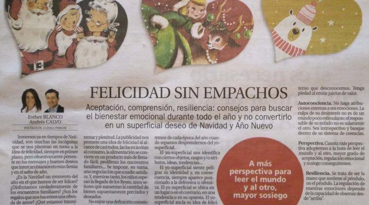Felicidad sin empachos. Artículo de opinión en La Nueva España